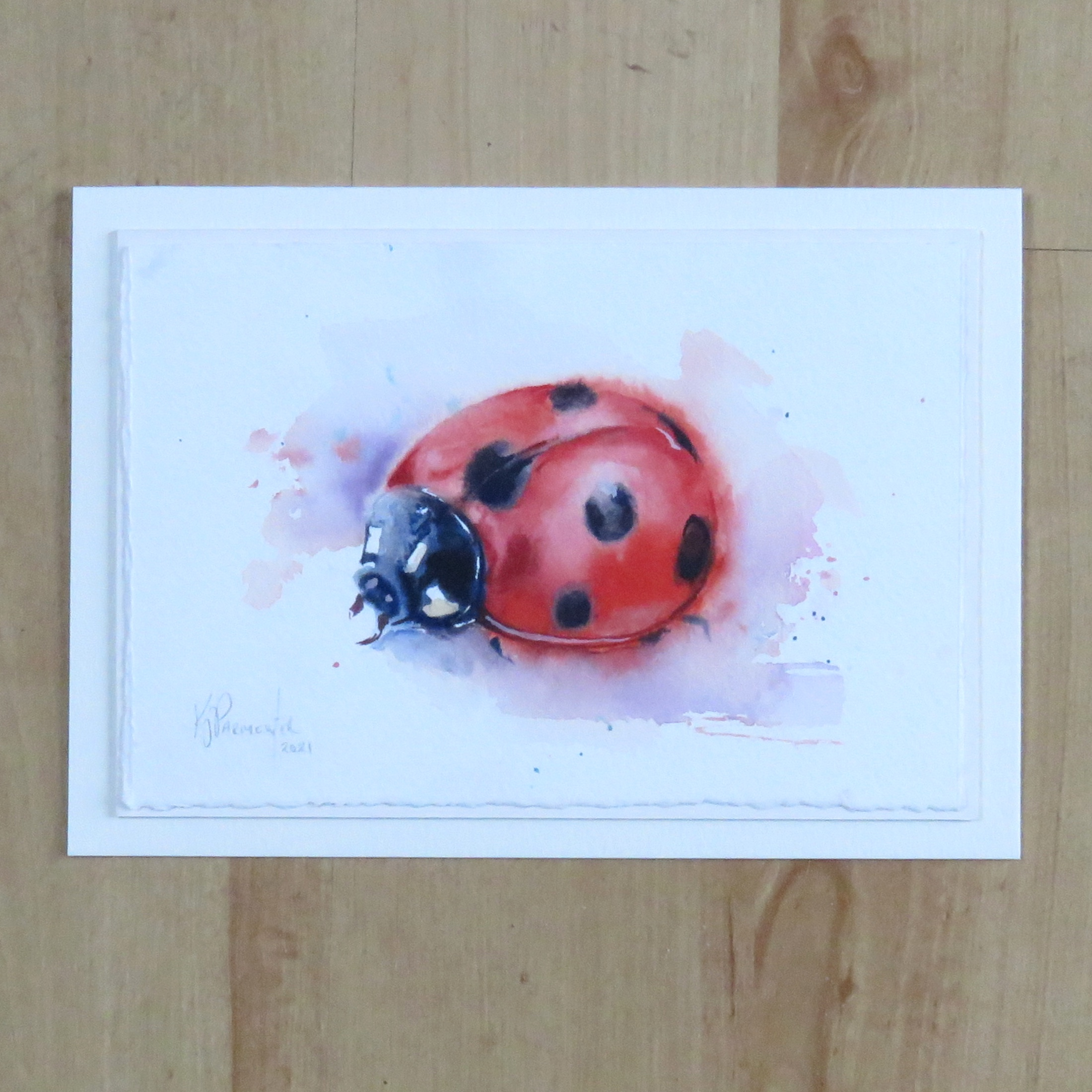 Painted Card – Lady in Red