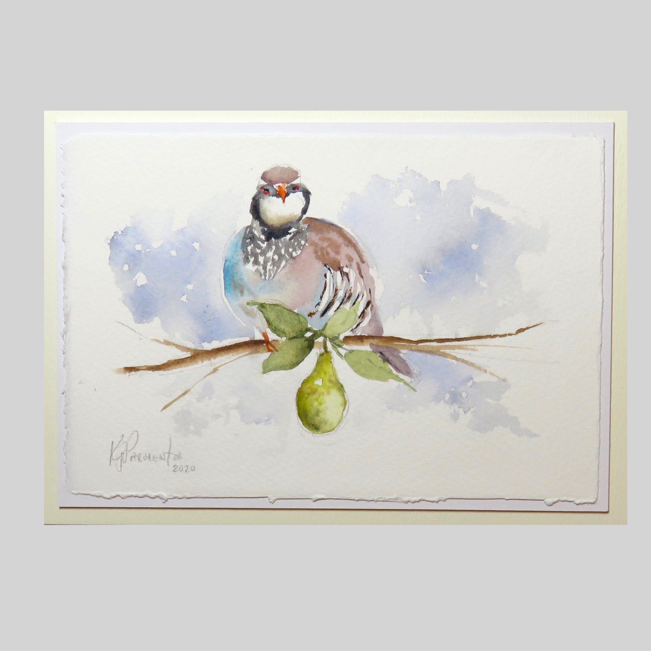 Painted Card – Partridge in a pear tree