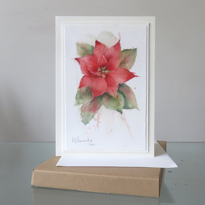 Painted card – Poinsetta (Sold)