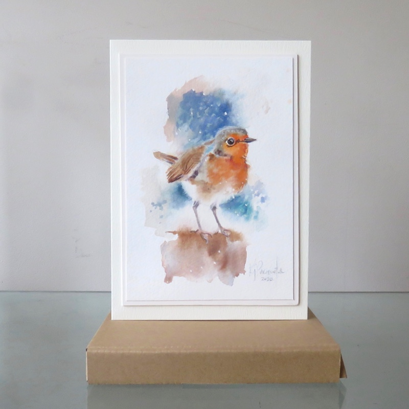 Painted Card – Redbreast (Sold)