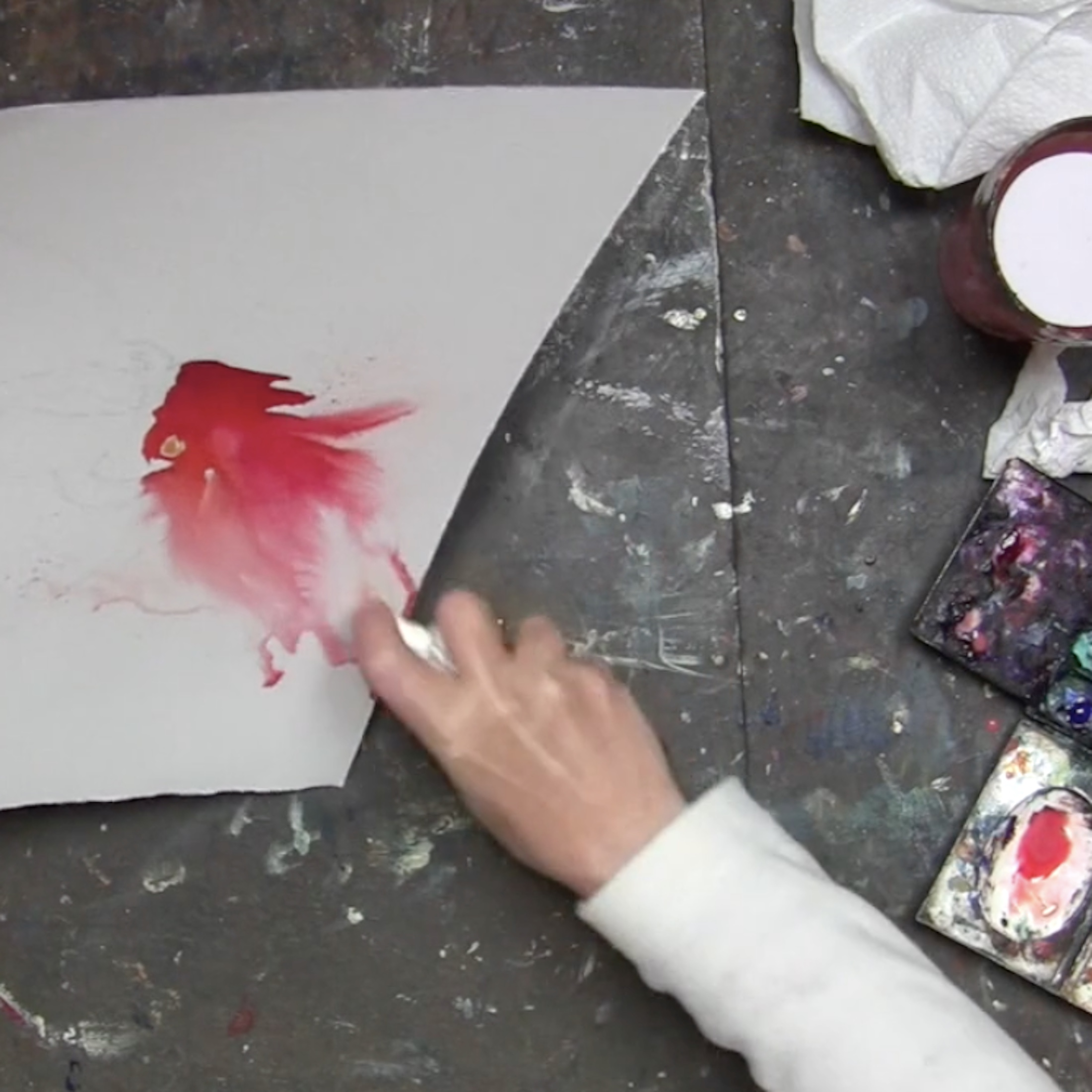 Watercolour rooster – online tuition