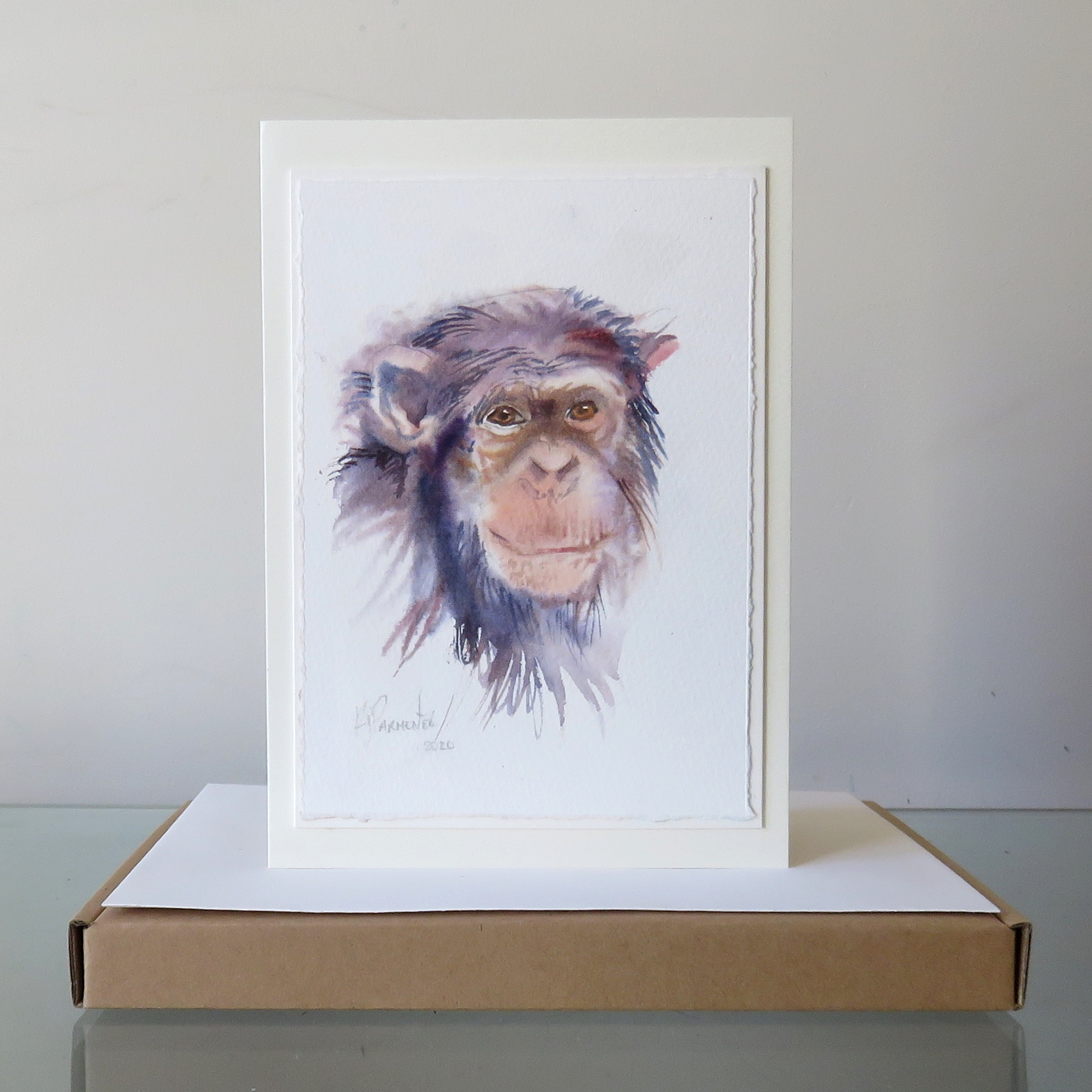 Painted Card – Chimp (Sold)